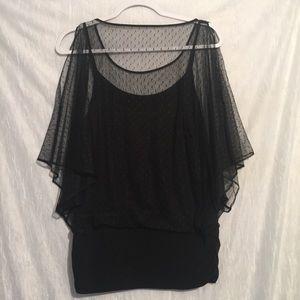 Jennifer Lopez Black lace dolman top large